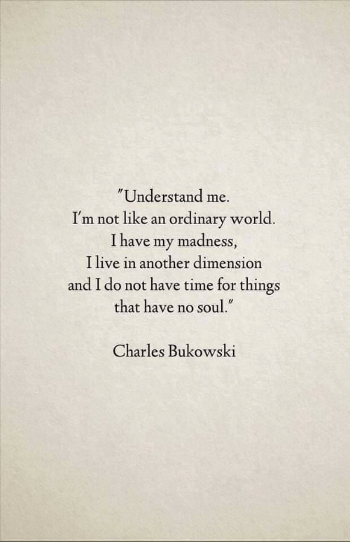 """Live, Time, and World: Understand me.  I'm not like an ordinary world.  I have my madness,  I live in another dimension  and I do not have time for things  that have no soul.""""  Charles Bukowski"""