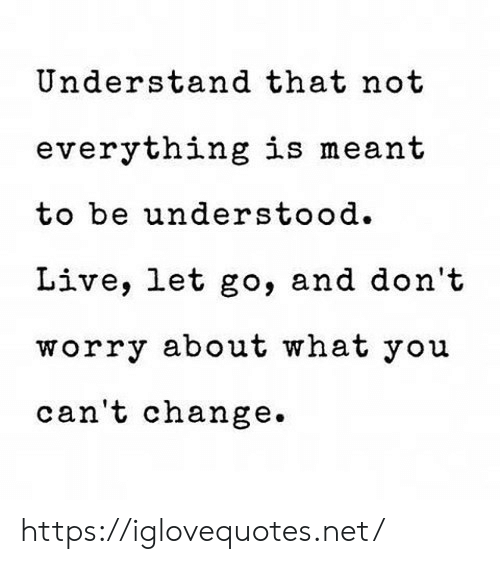 Live, Change, and Net: Understand that not  everything is meant  tobe understood.  Live, let go, and don't  worry about what you  can't change. https://iglovequotes.net/