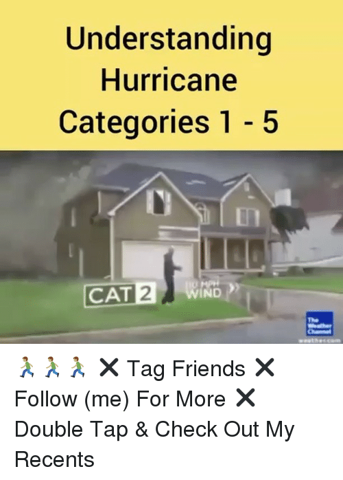 Friends, Memes, and Hurricane: Understanding  Hurricane  Categories 1 - 5  In  CAT WIND  2  The 🏃🏽🏃🏽🏃🏽 ✖️ Tag Friends ✖️ Follow (me) For More ✖️ Double Tap & Check Out My Recents
