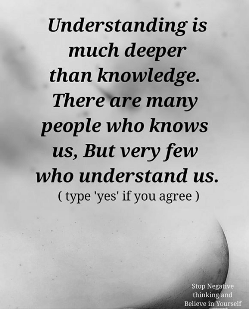 Memes, Knowledge, and Understanding: Understanding is  much deeper  than knowledge.  There are many  people who knows  us, But very few  who understand us.  (type 'yes' if you agree)  Stop Negative  thinking and  Believe in Yourself