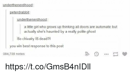 Memes, Best, and Ghost: underthenerdhood  peterdrabbit  underthenerdhood  a little girl who grows up thinking all doors are automatic but  actually she's haunted by a really polite ghost  So chivalry IS dead?  you win best response to this post  384,728 notes https://t.co/GmsB4nIDll