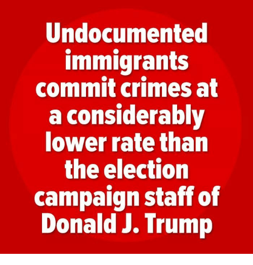 Trump, Election, and Staff: Undocumented  immigrant:s  commit crimes at  a considerably  lower rate than  the election  campaign staff of  Donald J. Trump