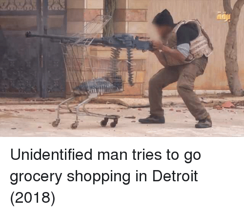 Detroit, Shopping, and Man: Unidentified man tries to go grocery shopping in Detroit (2018)