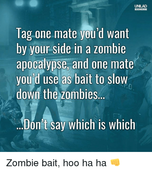 Memes, Zombies, and Zombie: UNILAD  GAMING  Tag one mate you'd want  by your side in a zombie  apocalypse, and one mate  you'd use as bait to slow  down the zombies..  Dón't say which is whiclh Zombie bait, hoo ha ha 👊
