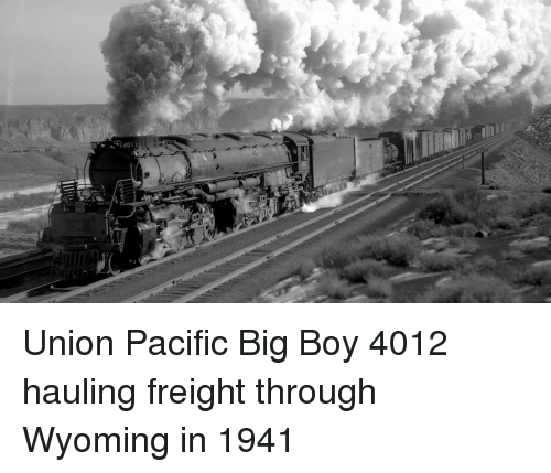 Boy And Wyoming Union Pacific 4012 Hauling Freight Through