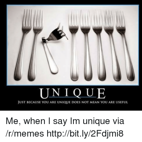Memes, Http, and Mean: UNIQUE  JUST BECAUSE YOU ARE UNIQUE DOES NOT MEAN YOU ARE USEFUL Me, when I say Im unique via /r/memes http://bit.ly/2Fdjmi8