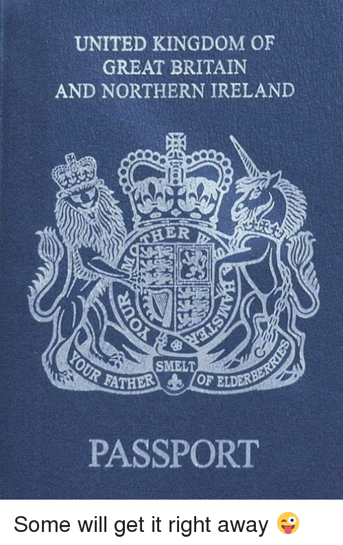 Memes, Ireland, and Passport: UNITED KINGDOM OF  GREAT BRITAIN  AND NORTHERN IRELAND  ER  SMELT  RATHER 10F ELDER  PASSPORT Some will get it right away 😜