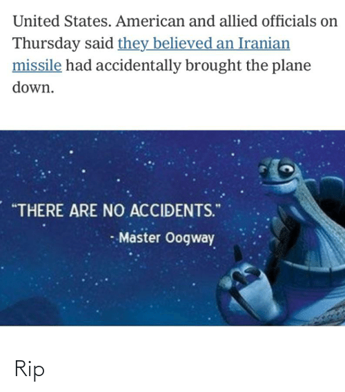 """Funny, American, and United: United States. American and allied officials on  Thursday said they believed an Iranian  missile had accidentally brought the plane  down.  """"THERE ARE NO ACCIDENTS.""""  Master Oogway Rip"""