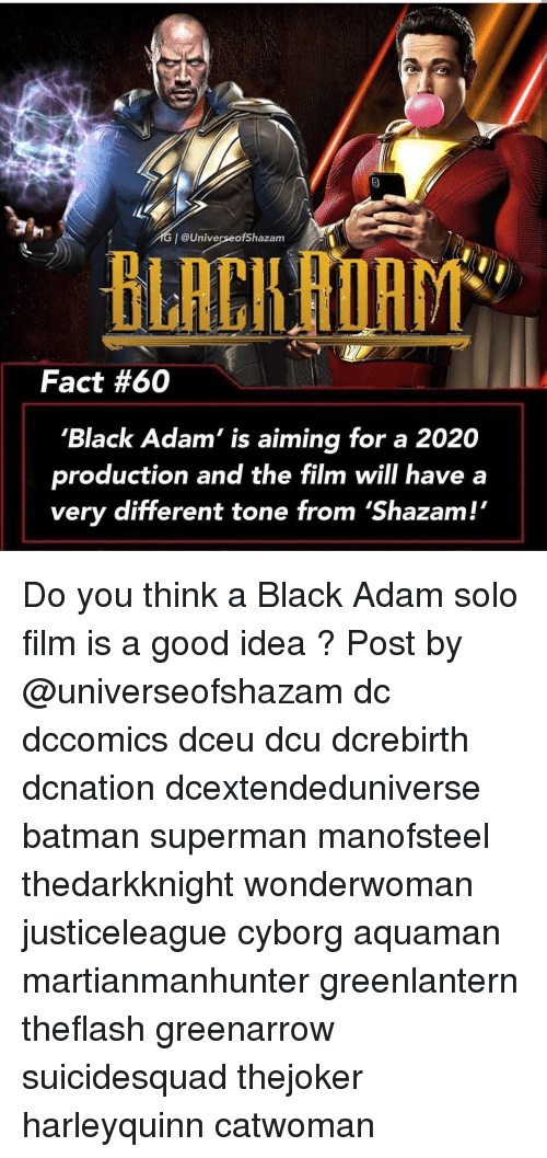 Batman, Memes, and Shazam: @UniverseofShazam  BLACHAIAIT  Fact #60  'Black Adam' is aiming for a 2020  production and the film will have a  very different tone from 'Shazam! Do you think a Black Adam solo film is a good idea ? Post by @universeofshazam dc dccomics dceu dcu dcrebirth dcnation dcextendeduniverse batman superman manofsteel thedarkknight wonderwoman justiceleague cyborg aquaman martianmanhunter greenlantern theflash greenarrow suicidesquad thejoker harleyquinn catwoman