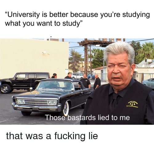 Fucking, University, and You: University is better because you're studying  what you want to study  13  hose bastards lied to me that was a fucking lie