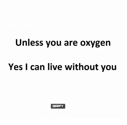 Unless You Are Oxygen Yes I Can Live Without You Reefy Meme On Meme