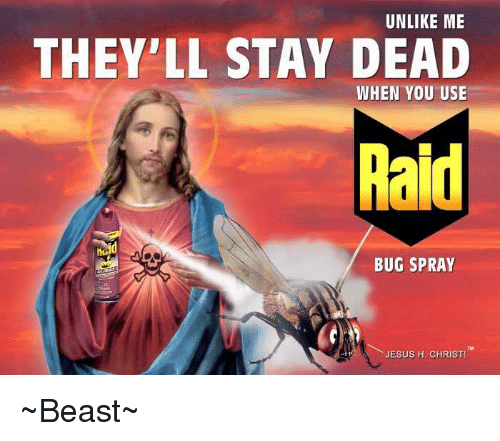 unlike me theyll stay dead when you use raid bug 6491227 unlike me they'll stay dead when you use raid bug spray jesus h