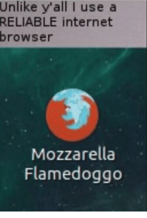 Internet, Memes, and 🤖: Unlike  y'all I use a  internet  RELIABLE  browser  Mozzarella  Flamedoggo