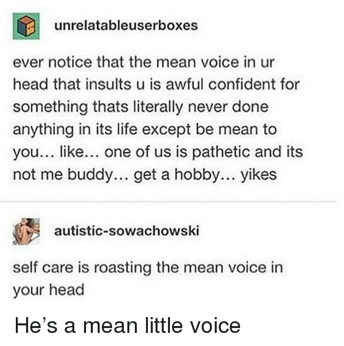 Head, Life, and Mean: unrelatableuserboxes  ever notice that the mean voice in ur  head that insults u is awful confident for  something thats literally never done  anything in its life except be mean to  you... like... one of us is pathetic and its  not me buddy... get a hobby... yikes  autistic-sowachowski  self care is roasting the mean voice in  your head He's a mean little voice