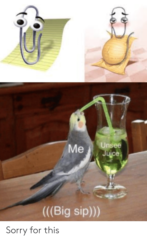 Unsee Juce Me Big Sip Sorry for This | Sorry Meme on ME ME