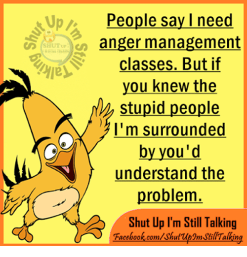 Memes, Shut Up, and Anger Management: Up People say I need  anger management  SHUT up  classes. But if  you knew the  stupid people  A I'm surrounded  by you'd  understand the  problem  Shut Up I'm Still Talking  Facebook.com/shuf up3mstillTalking