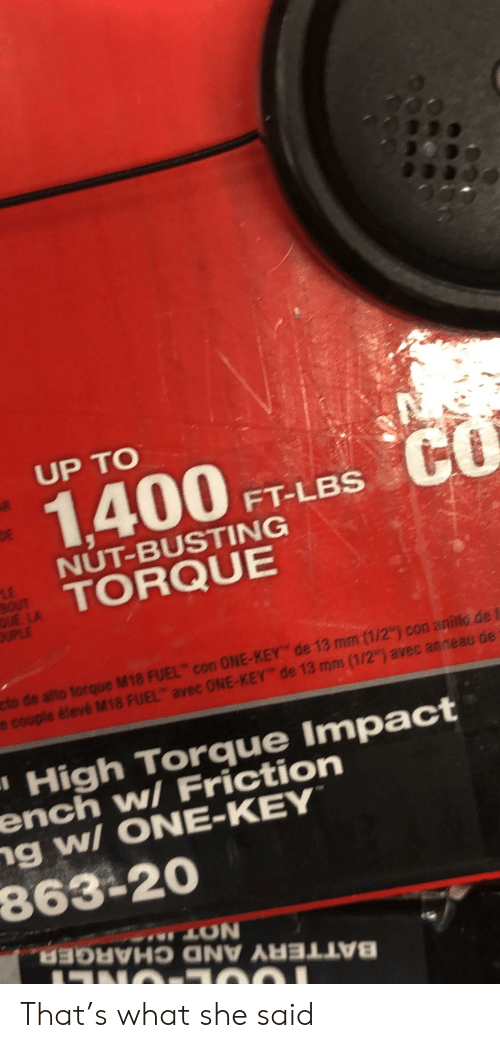 """Facepalm, Torque, and Key: UP TO  1400TLesC  FT-LBS  NUT-BUSTING  TORQUE  torque M18 FUEL con ONE-KEY de 13 mm (1/2"""") con anillo de f  18 FUEL avec ONE-KEY de 13 mm (1/2"""") avec anneau de  ' High Torque Impact  ench wl Friction  ng wI ONE-KEY  863-20  LUN That's what she said"""