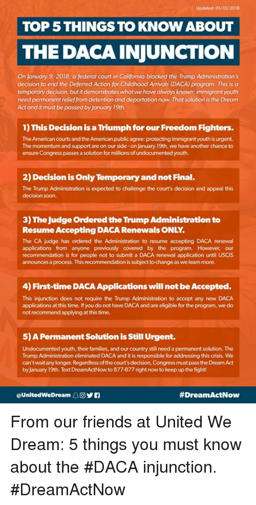 updated 01102018 top 5 things to know about the daca