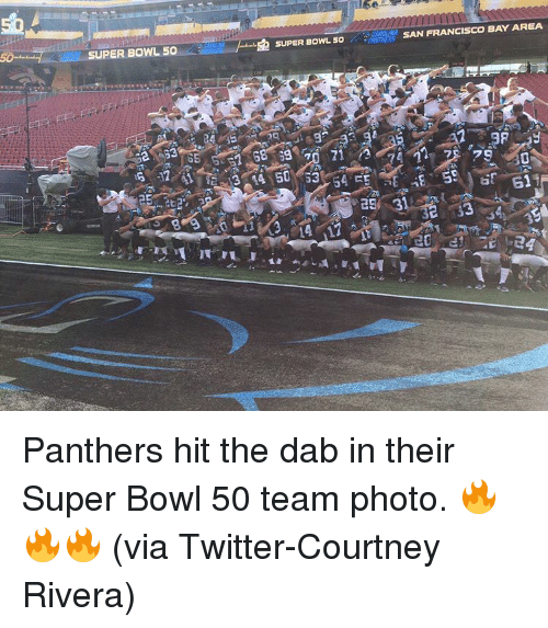 """The Dab, Sports, and Super Bowl: UPER BOWL 50  血SUPER BOWLso...  SUPER BOWL 50 theses  amps SAN FRANCISCO BAY AREA  24 气 二re -9 -3A3  sg""""70 71,,乃で(in, ze /79-id  as 3  14-17  o  己Eye Panthers hit the dab in their Super Bowl 50 team photo. 🔥🔥🔥 (via Twitter-Courtney Rivera)"""