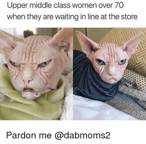 Women, Dank Memes, and Waiting...: Upper middle class women over 70  when they are waiting in line at the storee Pardon me @dabmoms2