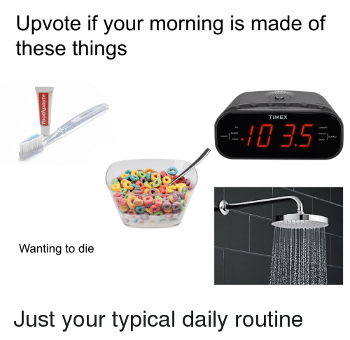 Radio, Alarm, and Timex: Upvote if your morning is made of  these things  TIMEX  0 3.5  ALARM 2  RADIO .  Wanting to die Just your typical daily routine