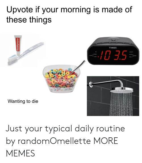 Dank, Memes, and Radio: Upvote if your morning is made of  these things  TIMEX  0 3.5  ALARM 2  RADIO .  Wanting to die Just your typical daily routine by randomOmellette MORE MEMES