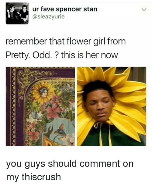 ur fave spencer stan sleazy urie remember that flower girl 12197120 ✅ 25 best memes about pretty odd pretty odd memes