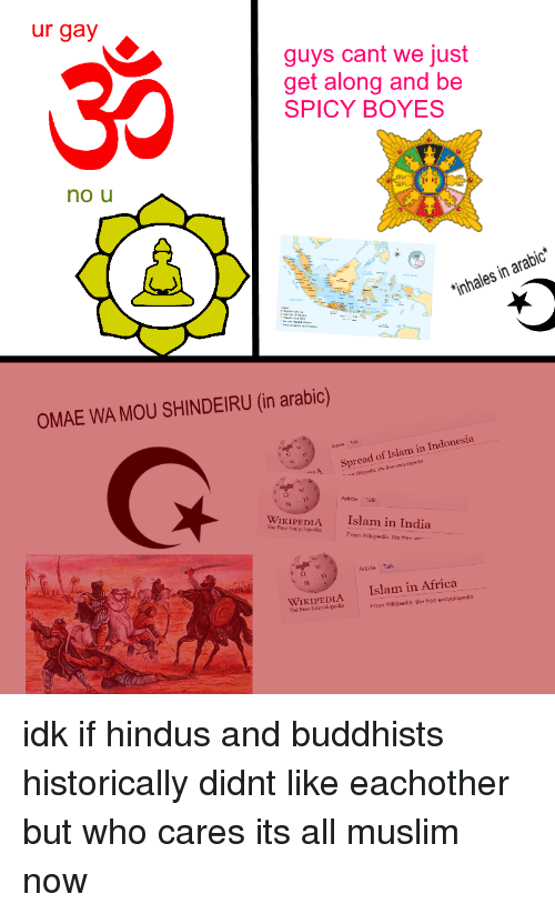 Africa, Muslim, and Wikipedia: ur gay  guys cant we just  get along and be  SPICY BOYES  no u  inhales in arabic  OMAE WA MOU SHINDEIRU (in arabic)  A Spread of Islam in Indonesia  2 W  Article Talk  WIKIPEDIA  Islam in India  The Free Encyclopedia  Frorm Wikipedia, the free an  Article Talk  WIKIPEDIA  he Free Encyclopedia  Islam in Africa  From Wiklpedis, the free