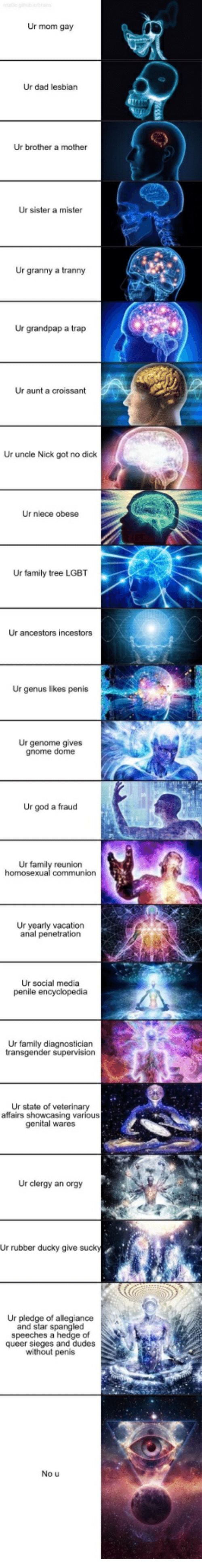 Dad, Family, and God: Ur mom gay  Ur dad lesbian  Ur brother a mother  Ur sister a mister  Ur granny a tranny  Ur grandpap a trap  Ur aunt a croissant  Ur uncle Nick got no dick  Ur niece obese  Ur family tree LGBT  Ur ancestors incestors  Ur genus likes penis  Ur genome gives  gnome dome  Ur god a fraud  Ur family reunion  Ur yearly vacation  anal penetration  Ur social media  penile encyclopedia  Ur family diagnostician  Ur state of veterinary  affairs showcasing various  genital wares  Ur clergy an orgy  ud  Ur rubber ducky give suck  Ur pledge of allegiance  and star spangled  speeches a hedge of  queer sieges and dudes  without penis  No u