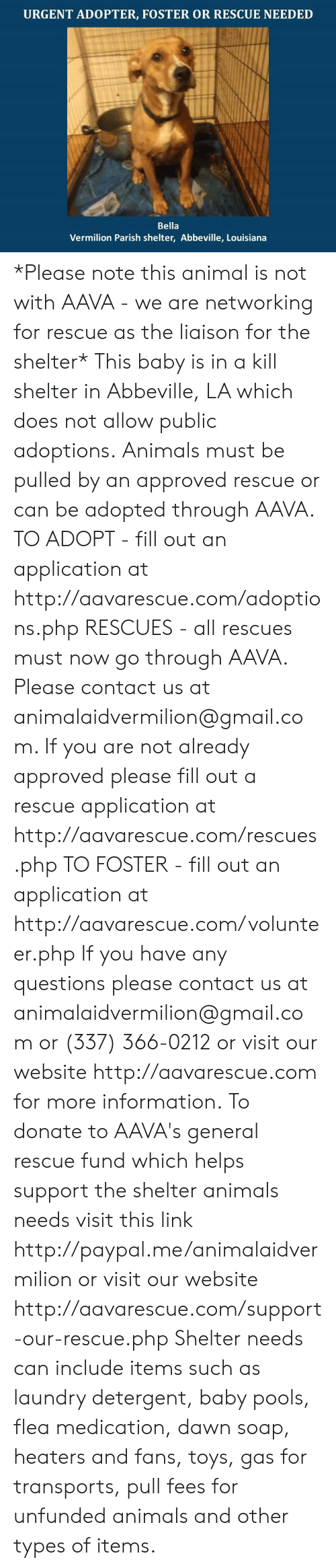 Animals, Laundry, and Memes: URGENT ADOPTER, FOSTER OR RESCUE NEEDED  Bella  Vermilion Parish shelter, Abbeville, Louisiana *Please note this animal is not with AAVA - we are networking for rescue as the liaison for the shelter* This baby is in a kill shelter in Abbeville, LA which does not allow public adoptions. Animals must be pulled by an approved rescue or can be adopted through AAVA.  TO ADOPT - fill out an application at http://aavarescue.com/adoptions.php  RESCUES - all rescues must now go through AAVA. Please contact us at animalaidvermilion@gmail.com. If you are not already approved please fill out a rescue application at http://aavarescue.com/rescues.php  TO FOSTER - fill out an application at http://aavarescue.com/volunteer.php  If you have any questions please contact us at animalaidvermilion@gmail.com or (337) 366-0212 or visit our website http://aavarescue.com for more information.  To donate to AAVA's general rescue fund which helps support the shelter animals needs visit this link http://paypal.me/animalaidvermilion or visit our website http://aavarescue.com/support-our-rescue.php Shelter needs can include items such as laundry detergent, baby pools, flea medication, dawn soap, heaters and fans, toys, gas for transports, pull fees for unfunded animals and other types of items.