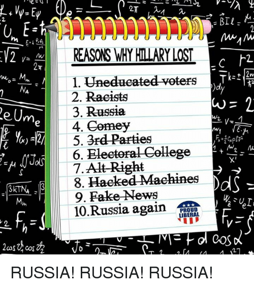 Memes, 🤖, and Cos: Urn  Cos Cos 22  REASONS WHY HILARY LOST  1. Unedueated veters  2. Racists  3. Russia  We  4. Comey  5. 3rd Parties  6. EHeeterat College  7.Alt-Right  8. Haeked Maehines  AdS  9. Fake News  10  again  PROUD  LIBERAL RUSSIA! RUSSIA! RUSSIA!