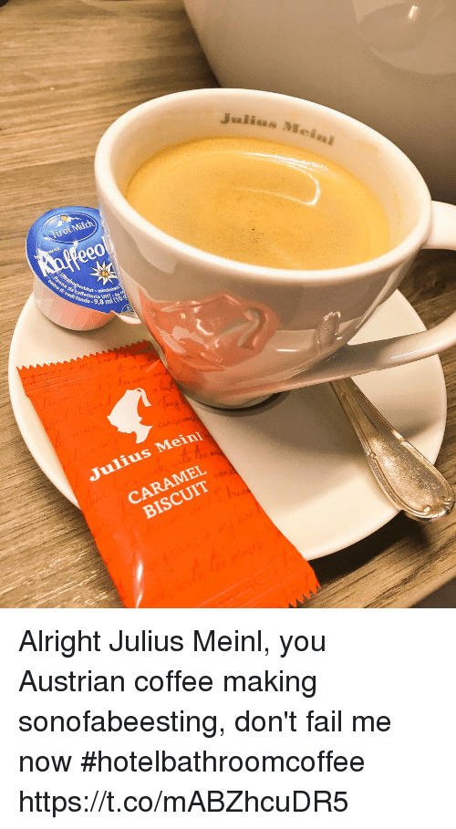 Fail, Memes, and Coffee: urolMilch  ee0  ml (10  Julius Mein  CARAMEL  BISCUIT Alright Julius Meinl, you Austrian coffee making sonofabeesting, don't fail me now  #hotelbathroomcoffee https://t.co/mABZhcuDR5