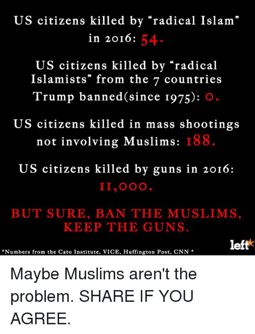 "Memes, Cato, and Huffington: US citizens killed by ""radical Islam""  54  in 2016  US citizens killed by ""radical  Islamists"" from the 7 countries  Trump banned since 1975)  US citizens killed in mass shootings  not involving Muslims: I 88  US citizens killed by guns in 2016:  II,OOO  BUT SURE, BAN THE MUSLIMS,  KEEP THE GUNS.  left  ""Numbers from the Cato Institute, VICE, Huffington Post, CNN Maybe Muslims aren't the problem. SHARE IF YOU AGREE."