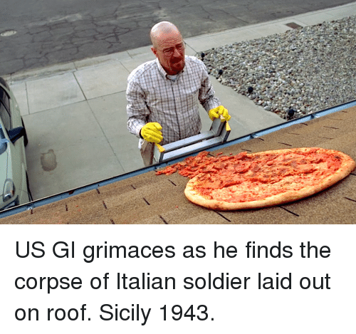Sicily, Soldier, and Italian: US GI grimaces as he finds the corpse of Italian soldier laid out on roof. Sicily 1943.