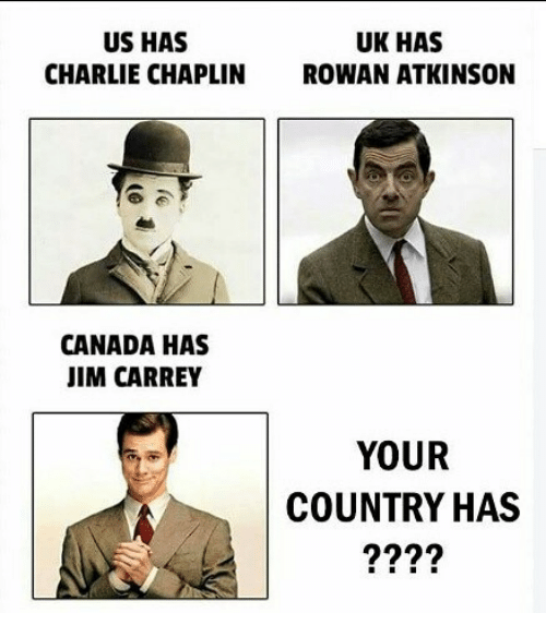Charlie, Jim Carrey, and Rowan Atkinson: US HAS  CHARLIE CHAPLIN  UK HAS  ROWAN ATKINSON  CANADA HAS  JIM CARREY  YOUR  COUNTRY HAS