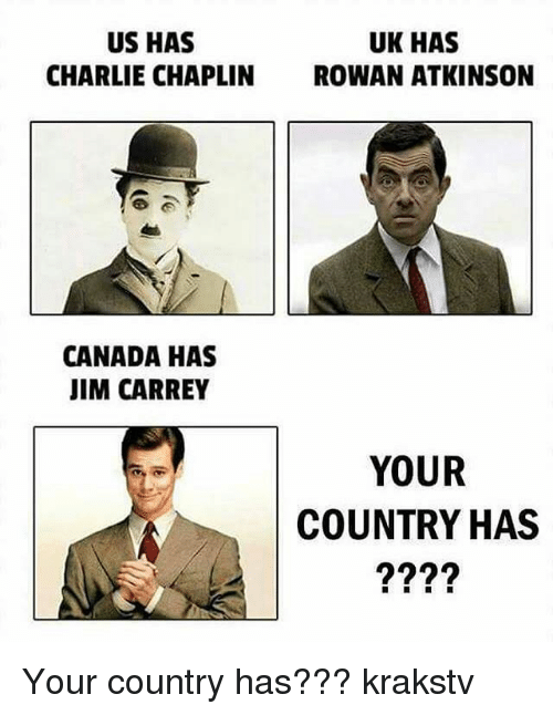 Charlie, Jim Carrey, and Memes: US HAS  CHARLIE CHAPLIN  UK HAS  ROWAN ATKINSON  CANADA HAS  JIM CARREY  YOUR  COUNTRY HAS Your country has??? krakstv
