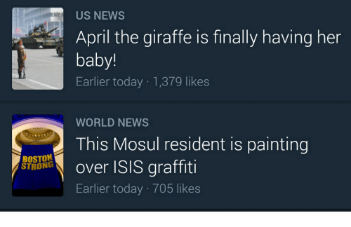 Graffiti, Isis, and News: US NEWS  April the giraffe is finally having her  baby!  Earlier today 1,379 likes  WORLD NEWS  This Mosul resident is painting  BOSTON  graffiti  STRONG  over ISIS Earlier today 705 likes