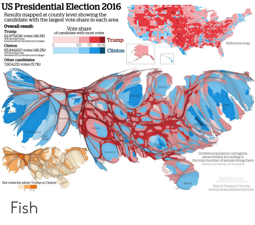 US Presidential Election 2016 Results Mapped at County Level Showing ...