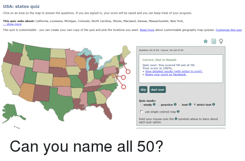 USA States Quiz Click on an Area on the Map to Answer the Questions ...