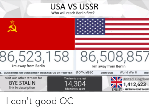 Twitter, Good, and History: USA VS USSR  Who will reach Berlin first?  86,523,158 86,508,857  km away from Berlin  km away from Berlin  @Officia BBC  World War  QUESTİONS OR CONCERNS, MESSAGE US ON TwITTER  JOIN OUR  Ds  .  visit our other stream for  BYE STALIN  link in description  United Kingdom  The fronts are just  14,304  1,412,623  kilometres apart  ENLISTİ . SEE THIS COUNTGOUPI I can't good OC