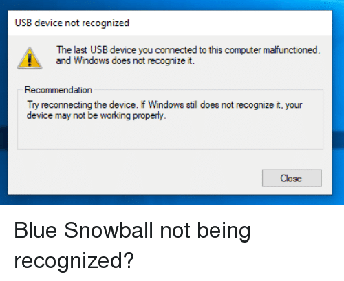 USB Device Not Recognized the Last USB Device You Connected to This