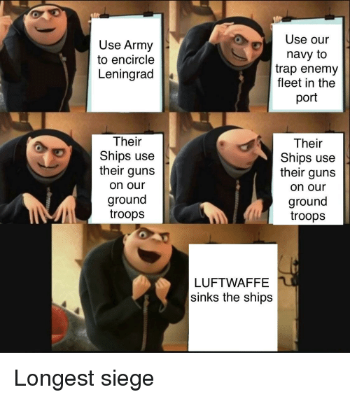 Guns, Trap, and Army: Use Army  to encircle  Leningrad  Use our  navy to  trap enemy  fleet in the  port  Their  Ships use  their guns  on our  ground  troops  Their  Ships use  their guns  on our  ground  troops  LUFTWAFFE  sinks the ships