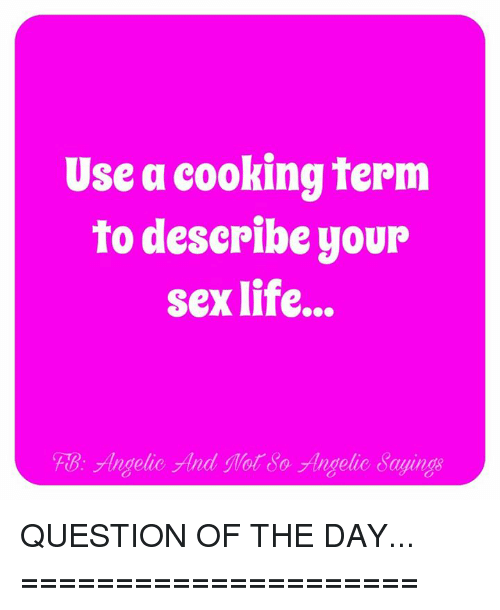 Sex question of the day