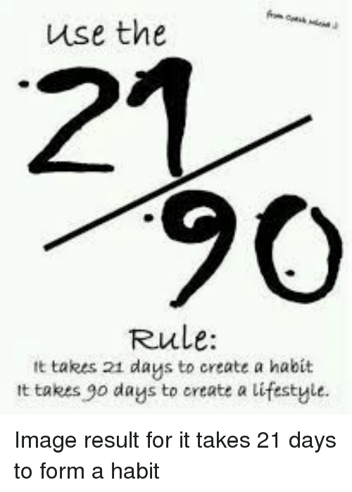Image, Lifestyle, and Create A: use the  21  90  Rule:  tt takes 21 daus to create a habit  It takes go days to create a lifestyle. Image result for it takes 21 days to form a habit