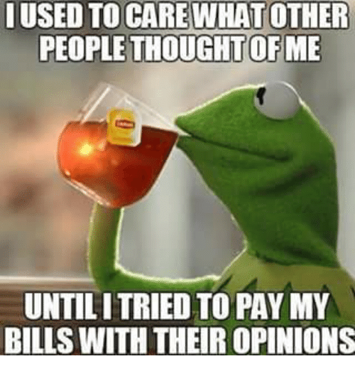 Kermit the Frog, Thought, and Bills: USED TO CARE WHATOTHER  PEOPLE THOUGHT OF ME  UNTILITRIED TO PAY MY  BILLS WITH THEIR OPINIONS