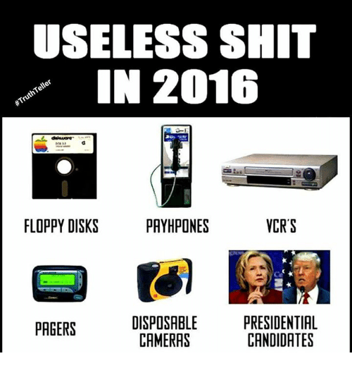 Shit, Camera, and Sassy Socialast: USELESS SHIT  IN 2016  Teller  #Truth FLOPPY DISKS  PRYHPONES  VCR S  DISPOSABLE  PRESIDENTIAL  PAGERS  CANDIDATES  CAMERAS