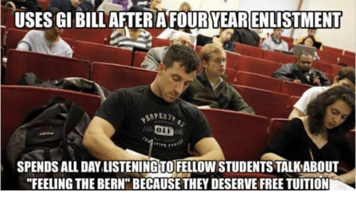 uses gi bill afterafouryearenlistment spends all daylistening to fellowstudentstalkabout feeling 5803491 uses gi bill afterafouryearenlistment spends all daylistening to