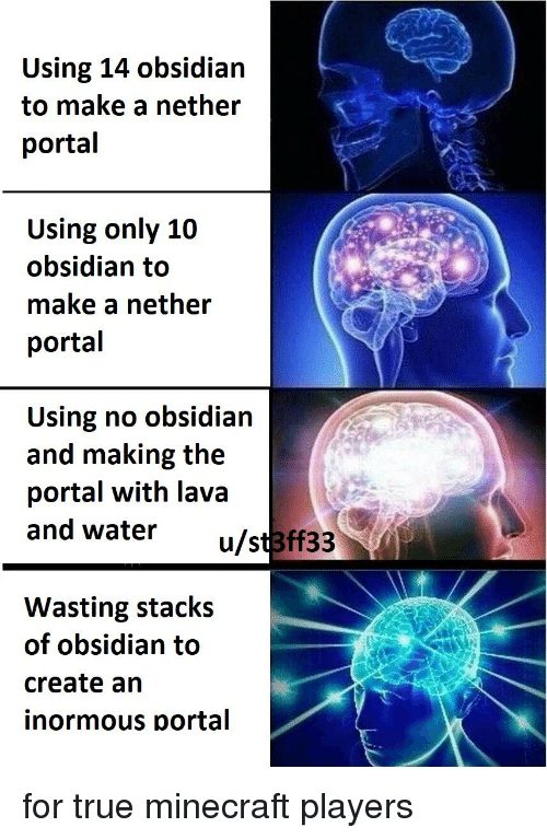 Using 14 Obsidian to Make a Nether Portal Using Only 10