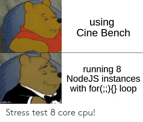 Using Cine Bench Running 8 NodeJS Instances With for Loop Imgflipcom