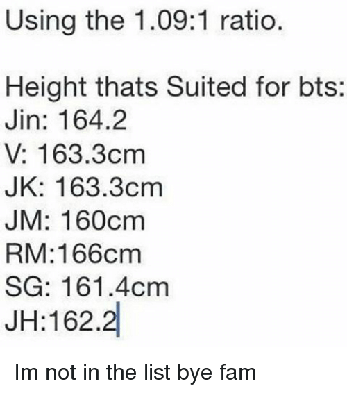 Using the 1091 Ratio Height Thats Suited for Bts Jin 1642 v